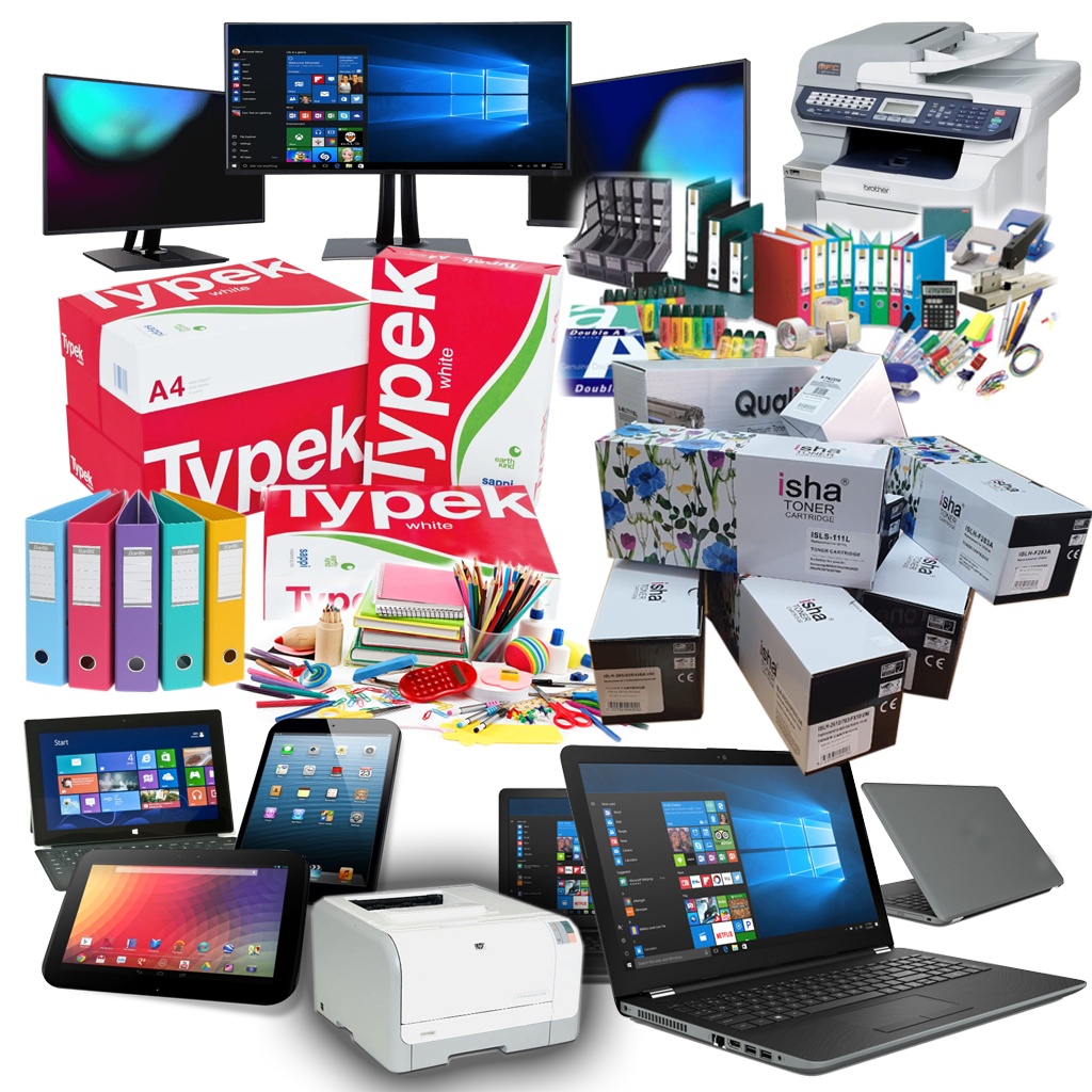 Stationery, Office Consumables, Laptops, Tablets, Printing Cartridges