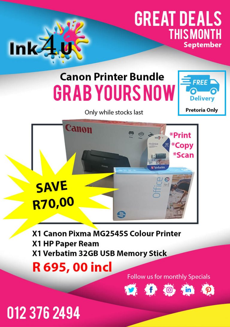 Canon MG2545S Colour Printer Bundle