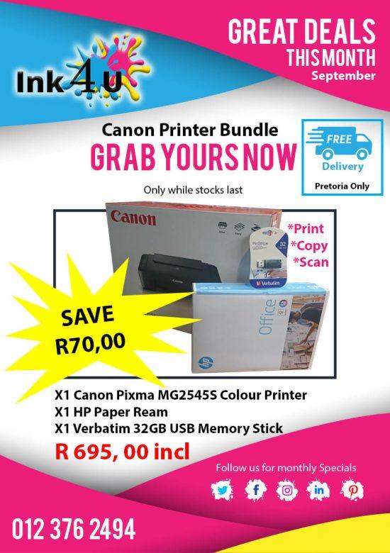 Canon MG2545S Colour Printer Bundle