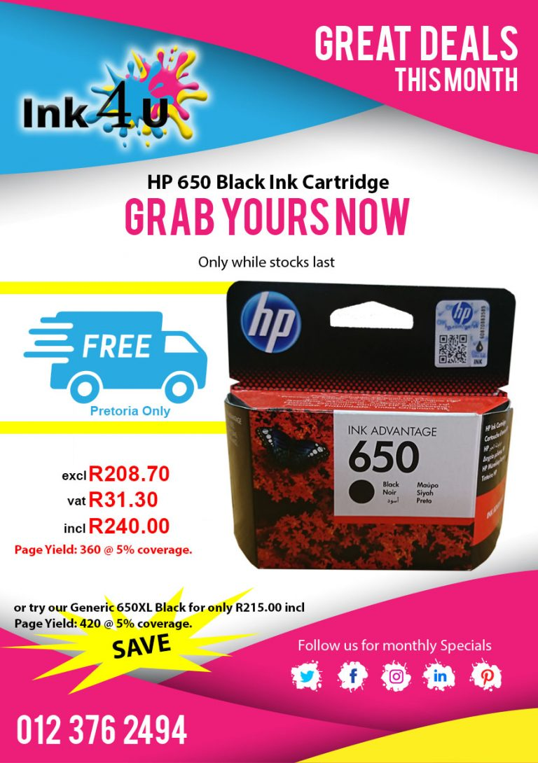 HP 650 Black Ink Cartridge CZ101AE
