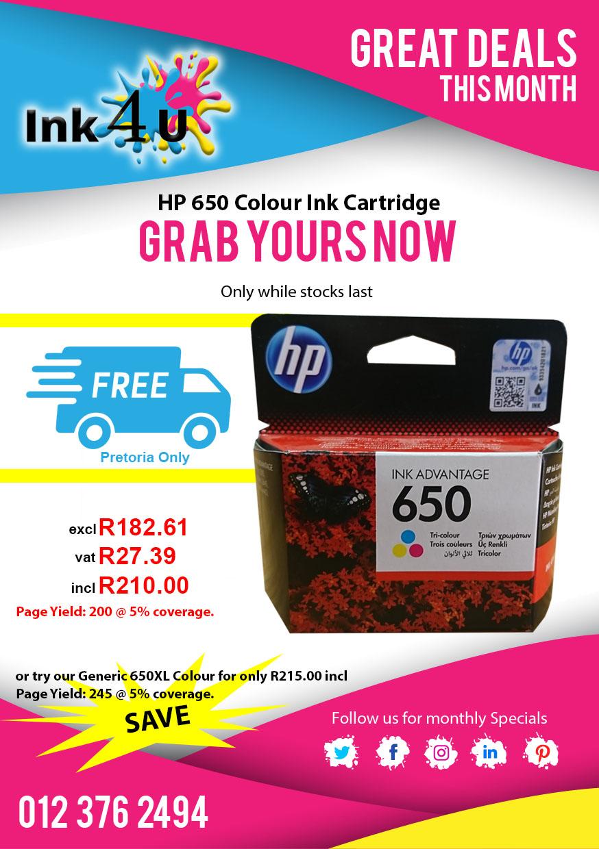 HP 650 Colour Ink Cartridge CZ102AE