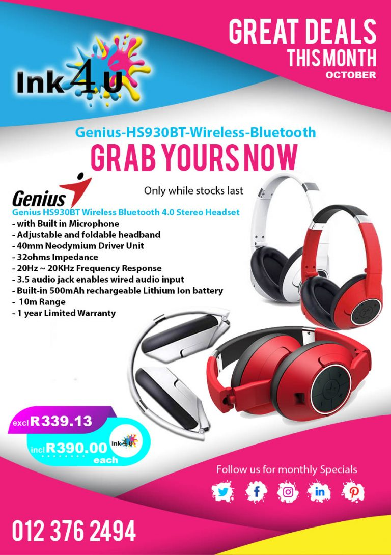 Genius HS930BT Wireless Bluetooth 4.0 Stereo Headset with Built in Microphone