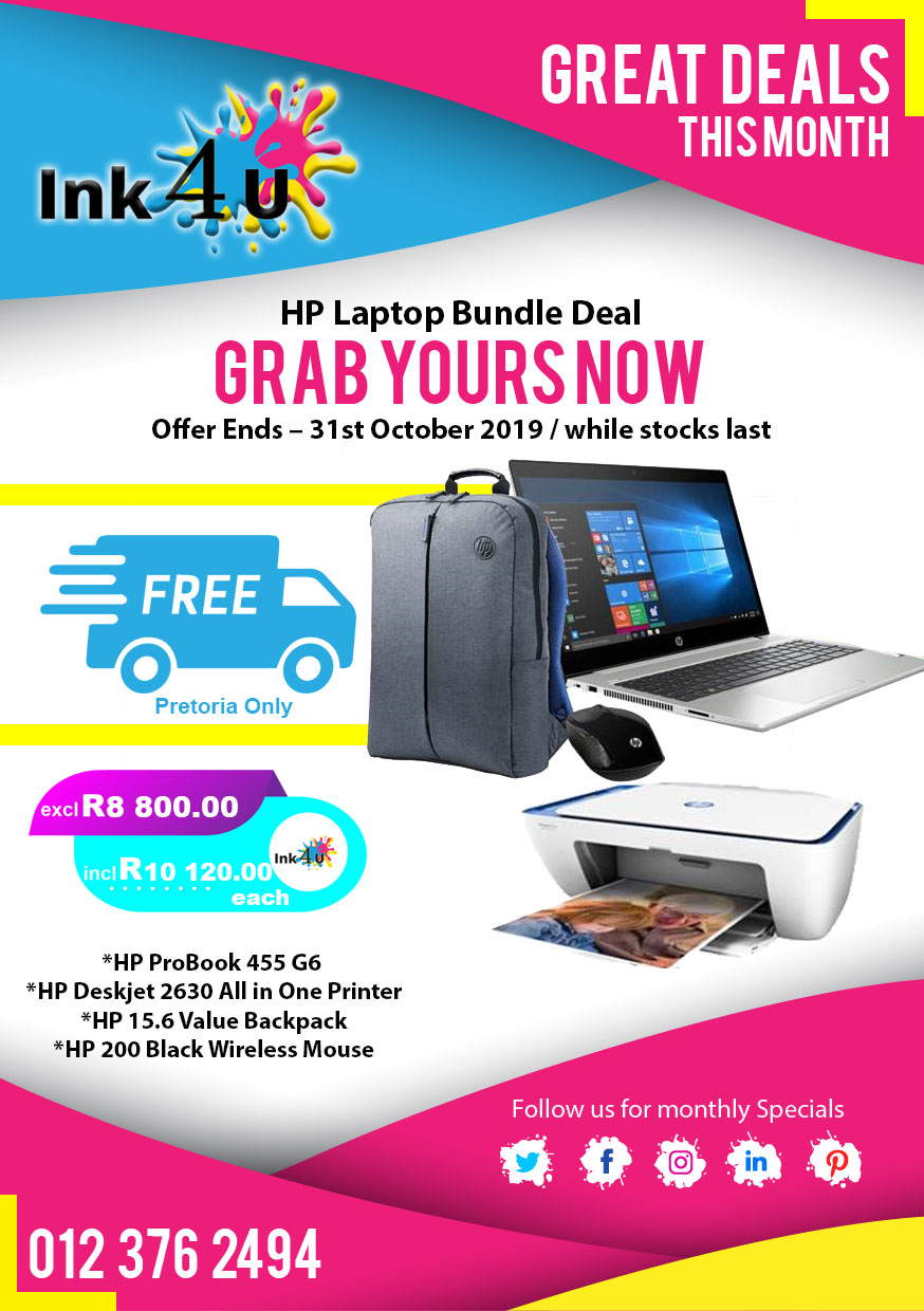 HP Laptop Bundle (Only While Stocks Last) Ends 31st October 2019.