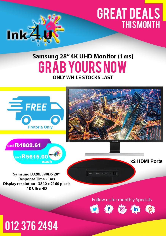 Samsung 28 inch UHD 4K Monitor 1MS 3840×2160