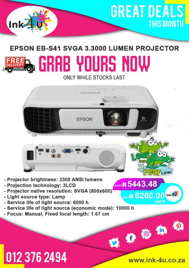 Epson EB-S41 SVGA 3.3000 Lumen Projector
