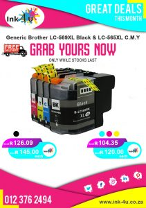 Generic Brother LC-569XL Black and LC-565XL Colour's