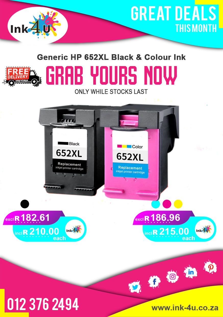 Generic HP 652XL Black and 652XL Colour Ink Cartridges