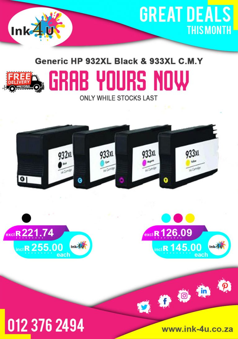 Generic HP 932XL Black and 933XL Colour Ink Cartridges