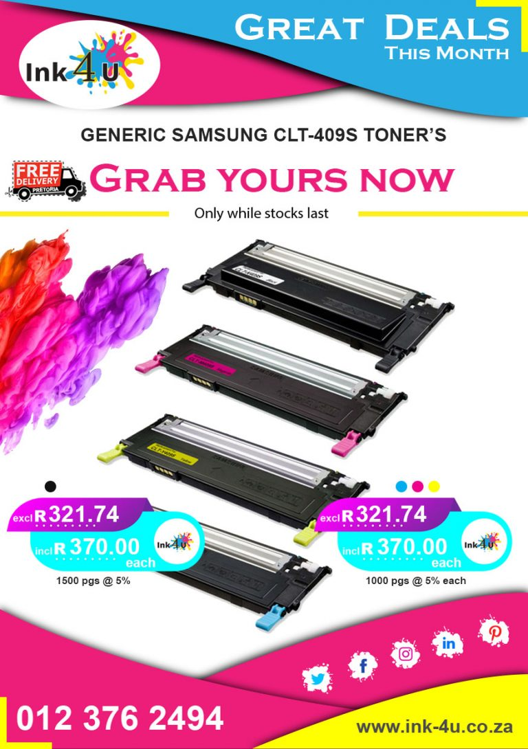 Generic Samsung CLT-K409S Black and Colour Toner's