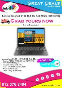 Lenovo IdeaPad S145 15.6 HD Anti Glare (1366×768)
