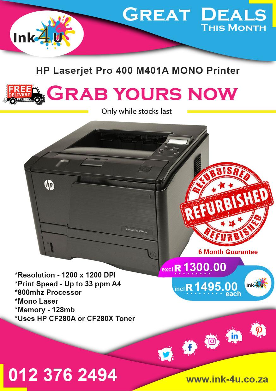 HP LaserJet Pro 400 M401a A4 Mono Laser Printer.
