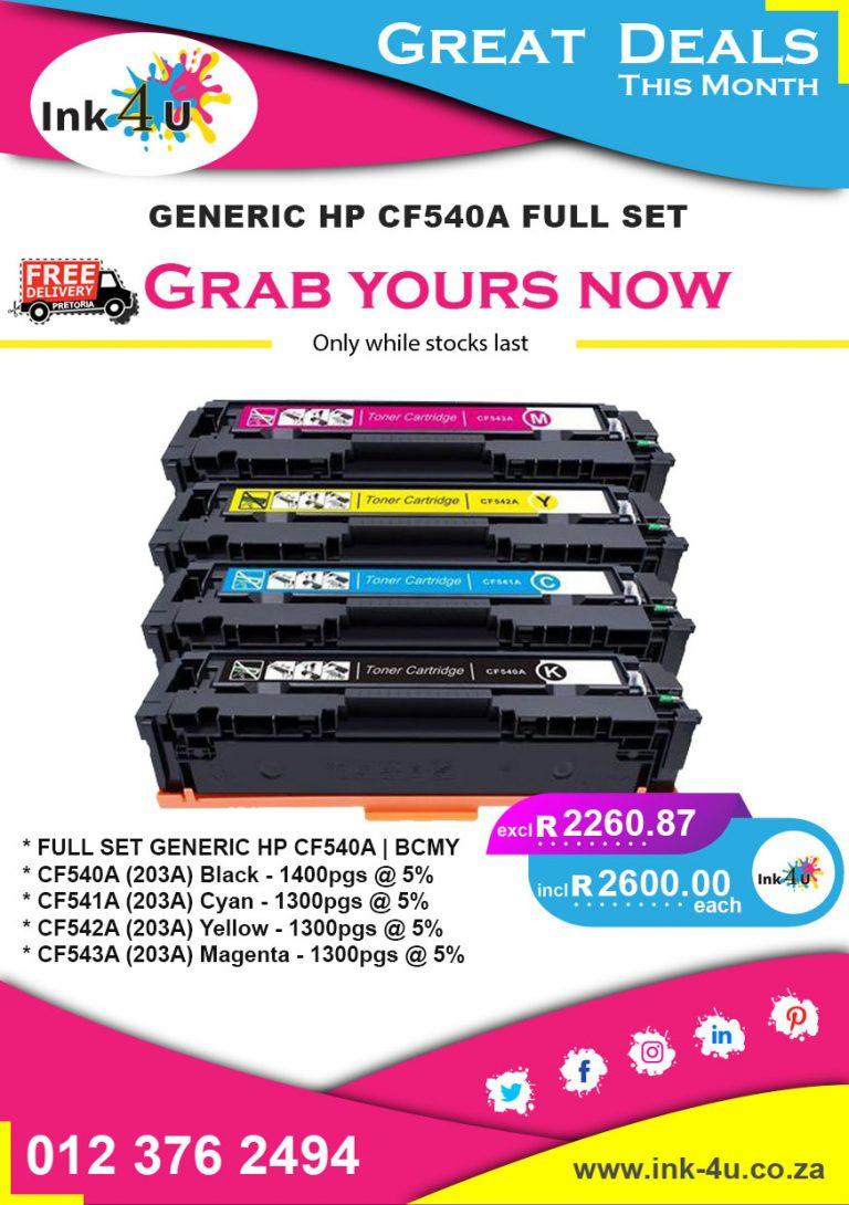 Generic HP CF540A Full Set Deals